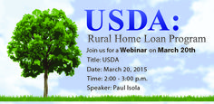 Join us Friday, March 20th from 2:00 - 3:00pm as we discuss loans for Rural Areas at our USDA Webinar.  Click the link to register: https://attendee.gotowebinar.com/register/5873640957116801794 #‎mortgage‬ ‪#‎USDA‬ ‪#‎mountainwestfinancial