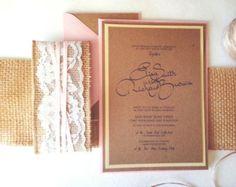 RUSTIC WEDDING INVITATIONS - kraft burlap lace wedding invite set