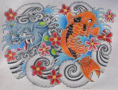 foo dog and koi fish