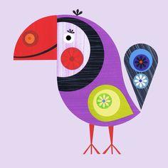 paper collage bird