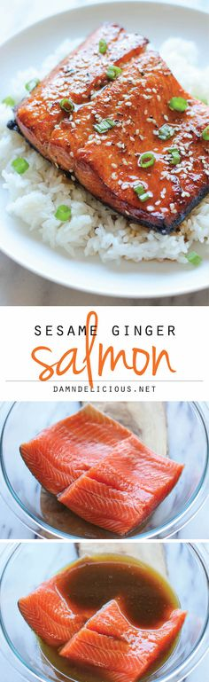 Ginger Salmon Sesame Ginger Salmon - A super easy salmon dish bursting with so much flavor, and it's hearty-healthy too!Sesame Ginger Salmon - A super easy salmon dish bursting with so much flavor, and it's hearty-healthy too! Salmon Recipes, Fish Recipes, Seafood Recipes, Cooking Recipes, Healthy Recipes, Healthy Foods, Sauce Recipes, Healthy Heart, Healthy Baking