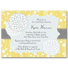 Vintage look gray and yellow bridal shower invitation .