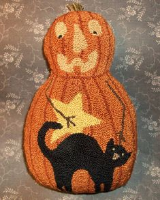 Primitive Needle Punch Pillow Pumpkin Doll With Black Cat And Star