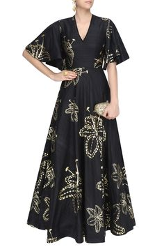 Black and gold foil lily print gown available only at Pernia's Pop Up Shop.