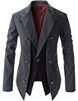 Showblanc (SBNJK9) Man's Slim Fit Front Double Layered Paisley Pattern Blazer