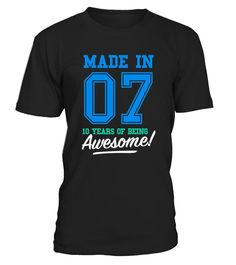 CHECK OUT OTHER AWESOME DESIGNS HERE!   Made in 07, 10 years of being awesome! This boy was Made in 2007 tee. This boy has 10 years. old. 10th anniversary gifts, 10th anniversary shirts, 10th birthday boy, 10th birthday shirts for boys, teen shirts for boys, teens clothing. Perfect shirt for young boys at age of 10. Cool and funny vintage college sports old school style t-shirt design for kids, ideal as a present for ten year olds. Birthday gifts for girls, for mother and father.      ...