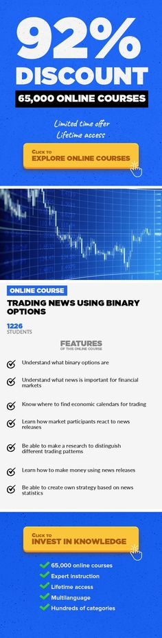 Trading News Using Binary Options Finance, Business #onlinecourses #onlinemastersschools #onlineeducationlogoLearn how to trade just a few times a week and earn on news releases using binaries UPDATED in January'2017! This course is about how to make a profitable strategy trading only few times a week – only after important news releases. In this courseI teach youhow to identify trading pa...