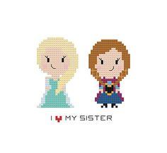 I Love My Sister Cross Stitch Pattern Frozen by goodmorningmaui