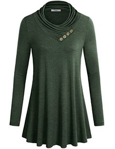 Shirts for GirlsCestyle Ladies Cowl Neck Long Sleeve Fit and Flare Pullover Sweatshirt Tunic Top Dress XXLarge Green ** See this great product.Note:It is affiliate link to Amazon.
