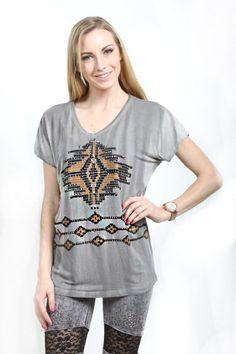 Vocal> T-Shirts> 12184S-Black Short Sleeve Dolmen Top w.Stone & Print Detail usfashionstreet.com