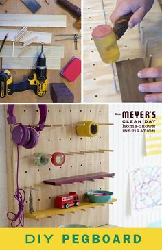 Keep the things you use the most neatly within reason with this DIY pegboard. It's easy to make and can help you organize nearly any room in your house (especially the playroom or your favorite crafting spot!).