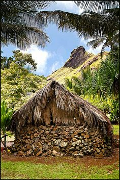 Reconstructed Native Hawaiian village at Komokila, Kauai, Hawaii