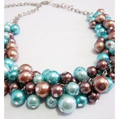 Chunky Blue Pearl Necklace, Clustered Pearl Necklace in Aqua,... ($25) ❤ liked on Polyvore featuring jewelry, necklaces, blue turquoise necklace, aqua necklace, brown pearl necklace, pearl jewellery and chunky necklaces