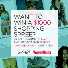 Want to win a Lord & Taylor shopping spree? Find out how to enter here: http://www.womenshealthmag.com/life/win-a-shopping-spree?cm_mmc=Pinterest-_-womenshealth-_-content-life-_-perfectparadisestylesweeps