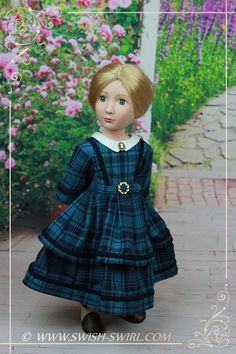 1850-60s gown for Amelia, A Girl All for Time doll, by Swish & Swirl…