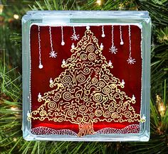 Christmas Tree Mantle Ornament or Table Decoration - Red Gold Silver Glass Block £25.00