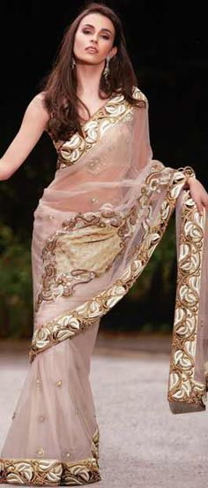 Fawn Net #Saree with #Blouse | $283.12 | Shop Here: http://www.utsavfashion.com/store/sarees-large.aspx?icode=skk11878