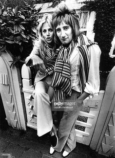 Rod Stewart and Britt Ekland posed in Amsterdam, Netherlands in 1975