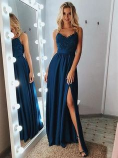A Line Backless Lace Blue Prom Dresses with Leg Slit, Blue L.- A Line Backless Lace Blue Prom Dresses with Leg Slit, Blue Lace Formal Dresses, Lace Blue Evening Dresses - Pretty Prom Dresses, Blue Evening Dresses, Unique Prom Dresses, Prom Dresses Blue, Homecoming Dresses, Elegant Dresses, Dress Prom, Evening Gowns, Banquet Dresses