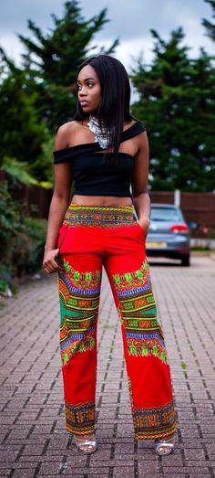 Dashiki African pants dashiki angelina pants Ankara by Laviye African Dresses For Women, African Attire, African Wear, African Women, African Outfits, African Print Pants, African Print Dresses, African Prints, African Inspired Fashion