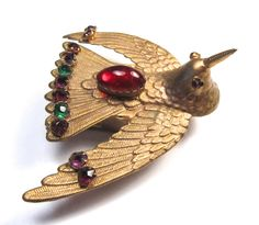 19 C W. Avery & Son Jeweled Hummingbird Redditch Antique Needle Case Circa 1873; W. Avery &Son