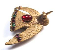 19 C W. Avery & Son Jeweled Hummingbird Redditch Antique Needle Case Circa 1873; W. Avery &Son