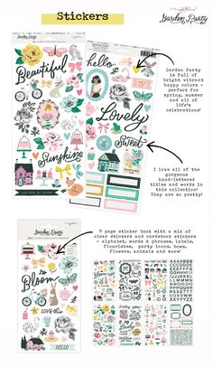 Maggie Holmes Garden Party New Collection Stickers Small Alphabets, Party Icon, Crate Paper, Types Of Craft, Small Words, Card Maker, American Crafts, Cute Icons, Happy Colors