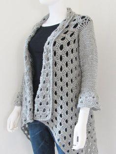 Gorgeous Bell Sleeve Crochet Cardigan Pattern - Crochet Dreamz I love this design Gilet Crochet, Crochet Coat, Crochet Cardigan Pattern, Crochet Jacket, Crochet Blouse, Crochet Clothes, Crochet Shrugs, Crochet Sweaters, Crochet Sweater Design