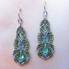 FOR ME PLEASE   Beaded Macrame Earrings, Micro Macrame Beadwork - Pastels, Kera style. $42.00, via Etsy.