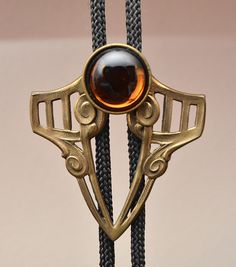 Gothic-Style Bolo Tie with Amber Glass Stone - International Male