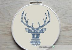 modern cross stitch pattern deer silhouette big by Happinesst