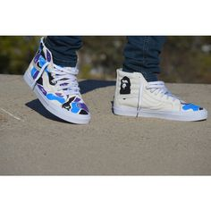 e7a3fcddda Custom Painted Bape Leather Sk8 Hi Vans ( 200) ❤ liked on Polyvore  featuring shoes