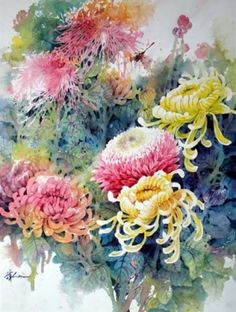 Chinese Flower Painting Lian Zhen Watercolor Lessons Art Lessons Art Books Drawing Lessons Oil Painting Drawing for Students Chrysanthemum Watercolor Art Lesson Watercolor Art Paintings, Watercolor Flowers, Painting & Drawing, Watercolors, Watercolor Artists, Watercolor Lesson, Paint Flowers, Watercolor Images, Flower Paintings