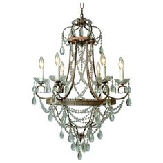 Y-Decor 'Palais' Restoration 6-light Chandelier Rustic Finish with Crystals
