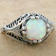 VINTAGE ANTIQUE STYLE .925 STERLING WHITE LAB OPAL SILVER RING SIZE 9,   @braeling