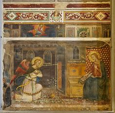Artist Jacopo di Cione Title The Annunciation Date c. 1371 Medium fresco Current location interior of the façade of the basilica of San Marco in Florence, Italy Renaissance Artists, Italian Renaissance, Italian Painters, Italian Artist, Catholic Art, Religious Art, Church Interior, Mary And Jesus, Biblical Art