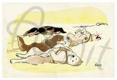 siberian husky. Early explorers by SiberianArt on Etsy, $30.00