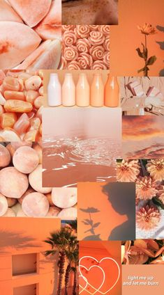 Tumblr Wallpaper, Peach Wallpaper, Iphone Wallpaper Vsco, Iphone Background Wallpaper, Cool Wallpaper, Orange Aesthetic, Aesthetic Colors, Aesthetic Collage, Collage Background