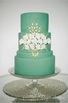 #green #wedding #cake