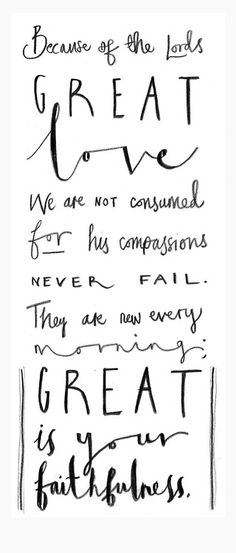 """""""Because of the Lord 's great love we are not consumed, for his compassions never fail. They are new every morning; great is your faithfulness."""" Lamentations 3 vs 22"""
