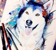 Siberian Husky watercolor painting by Pixie Cold from Germany   No. 2254