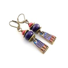 Purple Artisan Earrings Brass Earrings Boho by CinLynnBoutique