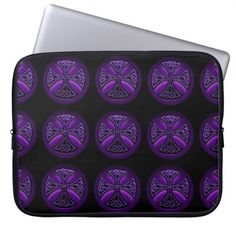 Black & Purple Celtic Cross Pattern Laptop Sleeve