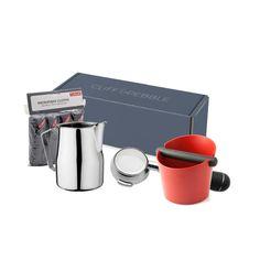 inside the box    1x - Motta Milk Steaming Pitcher - 12oz  1x - E61 Bottomless Portafilter  1x - Cafelat Tubbi Knockbox  1x - Cafelat Microfiber Cloths - Pack of 4 #Morning #Life #Teapots #Drinks #Sweet  cliffandpebble.com