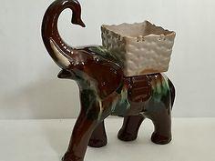 Canadian Ceramic Craft CCC Pottery Denis Tupy Lg Elephant w/ Basket Saddle BMP 3