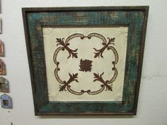 Rustic Primitive Framed Antique Scroll Tin-Wood-Antique-31x31-Turquoise & Brown-Free Shipping by RanchoAdobe on Etsy