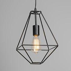 QAZQA Diseño, Industrial, Rústico, Moderno Lámpara colgante FRAME A negra, Metal, Cuadrada, Rectangular / Adecuado para LED E27 Máx. 1 x 40 Watt: Amazon.es: Iluminación