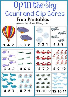 Exploring and learning about things that are up in the sky, Preschool theme, Kids activities and books, Free Math cards, Airplanes, jets, helicopters & more
