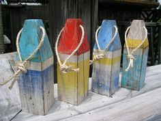 Upcycled lumber custom painted nautical buoy by JeanosArt on Etsy