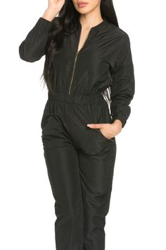 Black Jumpsuit, Character Art, Jumpsuits, Swimming, Leather Jacket, Long Sleeve, Jackets, Collection, Design
